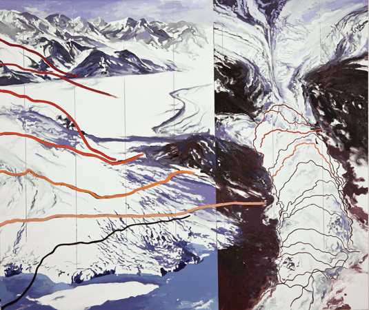 Diane Burko, Columbia Glacier Lines of Recession 1980-2005 Courtesy of the artist More