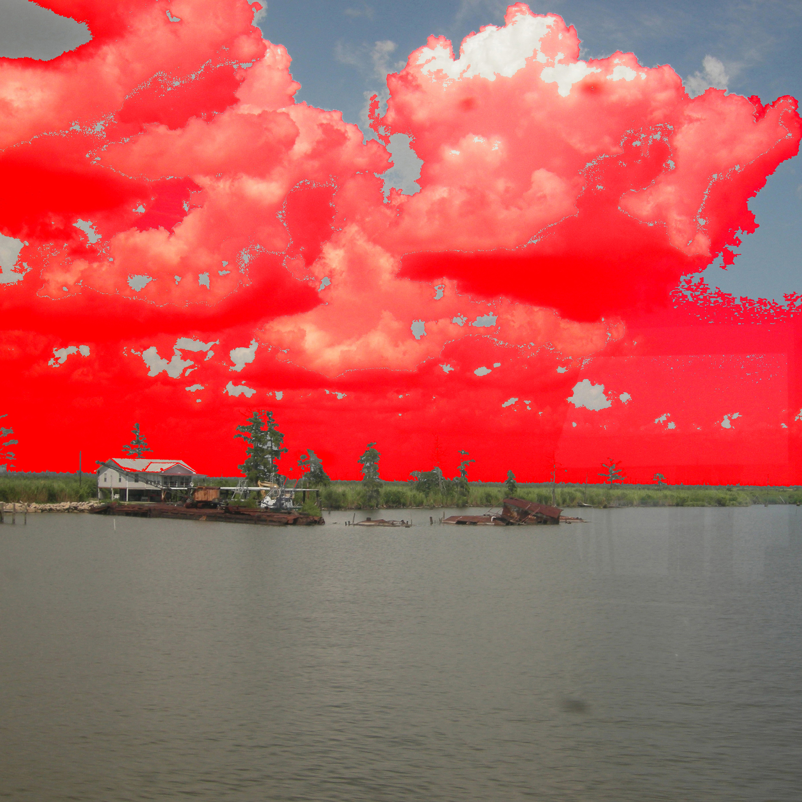 Aviva Rahmani, Warming Skies Over the Louisiana Bayous Seen From a Train Window (c. 2009)