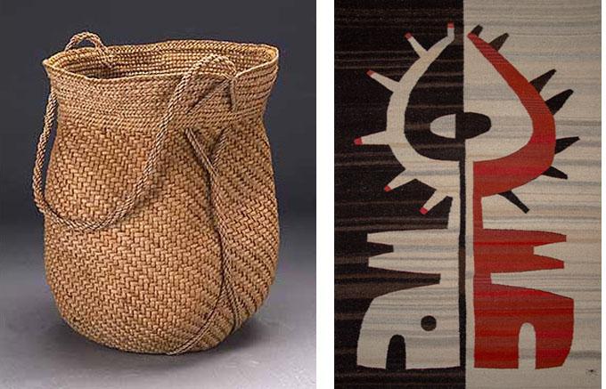 From left to right: Basket by Jennifer Zurick; Tapestry by Wence & Sandra Martinez. Courtesy of the artists.